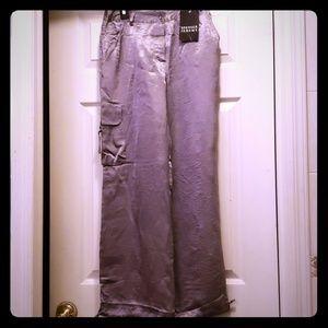 Sage green satin cargo pants